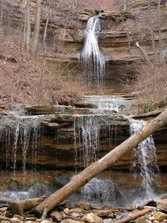 Tioga Falls located in West Point, KY, about 8 miles north of Fort Knox. Tioga Falls is an interesting and scenic waterfall located 30 miles south of Louisville, Kentucky. The hike to the falls is scenic and passes by some impressive railroad trestles. The falls is best seen in the spring or after a good rain.--GLWB