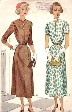 1940s Misses Dress Vintage Sewing Pattern by MissBettysAttic, $26.00