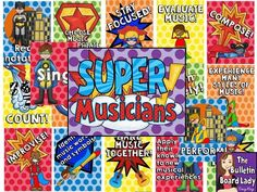 What do Super Musicians do? Display this music bulletin board to find out. Love the bright, bold colors and 19 different posters. Superhero School, Superhero Classroom, Classroom Ideas, Classroom Signs, Classroom Organization, Music Bulletin Boards, Preschool Bulletin Boards, Bullentin Boards, Singing Lessons