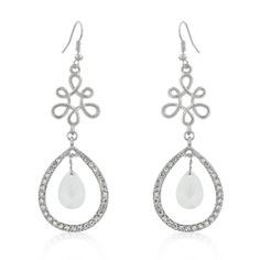 Ella Earrings Stunning Drop With Two Double Cushion Cut Pear Shape Clear Cz Stones Hily Dangling Inside A Pave Crystal Outline Hanging From