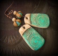 Polymer Clay, Nautilus Shell, Hand Painted, Picture Jasper, Vintage, Rustic,Beaded Earrings by YuccaBloom on Etsy