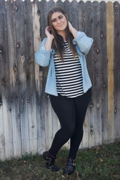 stripes and denim outfit