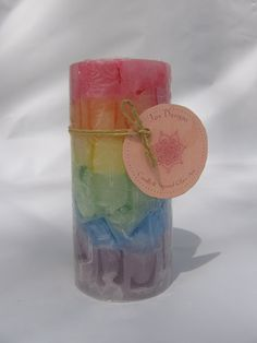 Rainbow Candle Handmade Pillar Chunk Candle by wjoydesigns on Etsy, $20.50