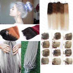 7A 100S/200S Micro Loop Ring Silicone Virgin Ombre Remy Human Hair Extensions