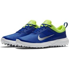 Check out what #lorisgolfshoppe has for your days on and off the golf course: Paramount Blue/Metallic Silver/Volt (Medium Width) Nike Ladies Akamai Golf Shoes