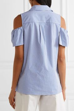 MICHAEL Michael Kors - Cold-shoulder Striped Stretch-cotton Blouse - Blue - xx small