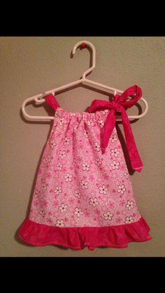 Pillow Case Dress  Size: Newborn  Dark Pink & Light by Sewn4ACause