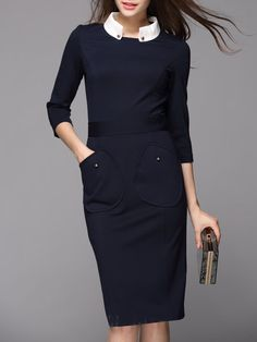 Shop Midi Dresses - Navy Blue 3/4 Sleeve Pockets Stand Collar Rayon Midi Dress online. Discover unique designers fashion at StyleWe.com.