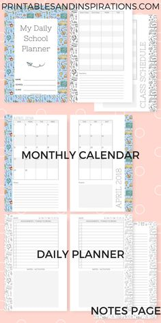 Daily school planner, daily planner for students, daily planner for kids, 2018 2019 school planner, student planner for kids, free printable planner, motivational quotes for kids