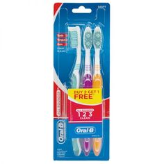 Oral- B, All Rounder, 1 2 3 Clean Soft, Toothbrush, 3 Pack.