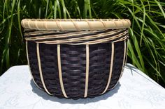 Black White Reed Basket Handmade Woven Table by BrightExpectations, $40.00