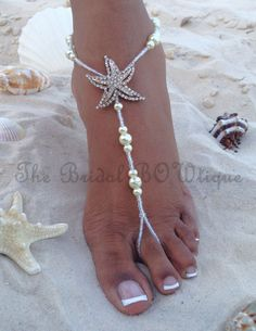 Starfish Barefoot Sandals, Beach Wedding Barefoot Sandal, Bridal Barefoot Sandals, Bridal Foot Jewelry, Footless Sandal is part of Beach Wedding jewelry - TheBridalBOWtique ref shopsection shophome leftnav Thank you for stopping by! Beach Wedding Sandals, Beach Sandals, Wedding Beach, Beach Weddings, Beach Shoes, Beach Wedding Footwear, Shoes Sandals, Summer Sandals, Starfish Sandals