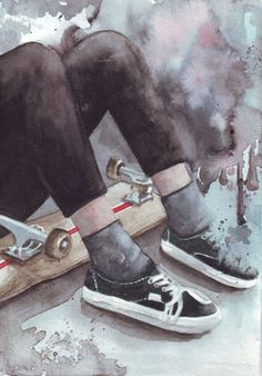 Original watercolor painting Skateboard and Converse by HelgaMcL, $24.00