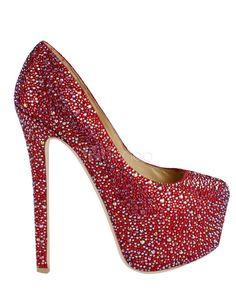Shiny Sheepskin Rhinestone Beading High Heel Shoes