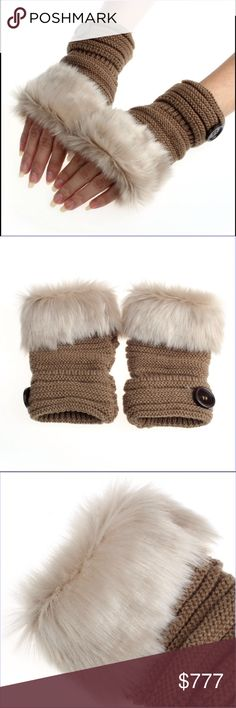 Winter Fingerless Gloves Warm luxury wool faux rabbit fur wrist fingerless gloves. Great for us ladies that are always Poshing away. Color Khaki.Please check out other items in my closet. Price Firm Unless Bundled Accessories Gloves & Mittens