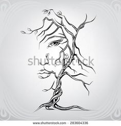 Woman's face in the form of a tree
