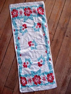 1950s Teal Red Hibiscus Cotton Flour Sack Dish Towels 2013324