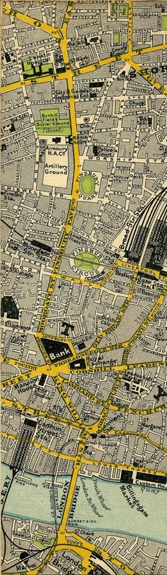 1897 map of central London - Shoreditch and Bank. One of the best SS projects my students and I did was to create imaginary towns. The students and I negotiated a rubric after studying our textbook, they set to work, and we all enjoyed their efforts! Vintage Maps, Antique Maps, Central London Map, Bel Art, Underground Map, City Map Poster, Map Globe, Old Maps, Historical Maps