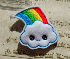 Cute happy kawaii rainbow cloud embroidery design pattern (in the hoop) file instant digital download fruit make for clip or hairband (1.39 GBP) by TheHoopBooteek http://ift.tt/1EjIckd