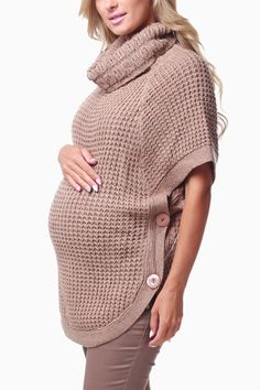 Mocha Knit Short Sleeve Button Maternity Sweater