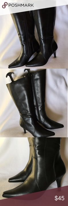 """NEW! Black Leather Heel Boots Size 8 NWOB Black leather knee-high boots. NEW without box. Pointed toe. 3"""" heels. Side zippers. Ladies shoe size 8. 🌸 BUNDLE & SAVE 20% 🌸 Vintage Shoes Heeled Boots"""