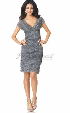 Vintage Silver V-Neck Slim/Sheath Lace Knee Length Mother of The Bride Dresses(CMBD08046)