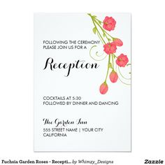 "Fuchsia Garden Roses - Reception Card 3.5"" X 5"" Invitation Card"
