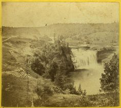 """Letchworth Photo Album A similar view, but from a slightly different angle providing an interesting look at the attempts to reinforce the bank in what is now called the """"Slide Area"""". The Genesee Valley Canal can be seen running toward the Portage Bridge in the misty distance. Incidentally, the handwritten label on this stereoview states """"#129 View on the Genesse River near Portage City Wis."""""""