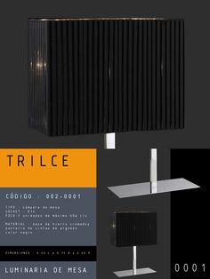 Luminaria de Mesa modelo TRILCE CÓDIGO : 002-0001 TIPO : Lámpara de mesa SOCKET : E14  FOCO : 2 unidades de máximo 60w MATERIAL : Base de hierro cromado y pantalla de cintas de algodón de color negro DIMENSIONES : 0.35 L x 0.35 A x 1.40H