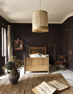 Maison Empereur : Beautiful Bedroom in France Interior Exterior, Home Interior, Interior Design, Dark Interiors, Colorful Interiors, Brown Bedroom Walls, Dark Brown Walls, My New Room, Home Decor Inspiration