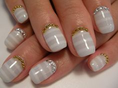 White Nails with stripe