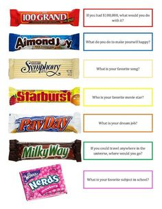 Crazy About Cakes: Candy Bar Getting to Know You Game Informations About Crazy … - Vorschule und Schule Youth Games, Games For Teens, Adult Games, Teen Games, Get To Know You Activities, Candy Games, Team Building Activities, Icebreaker Activities, Bonding Activities