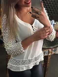 Women's Sexy Fashion Loose Chiffon V-Neck Tops Long Sleeve Shirt Casual Blouse