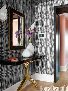 foyer walls in Clarence House's Neisha Crosland Zebra // Jamie Drake