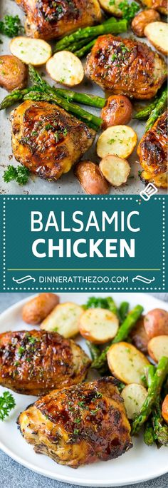 Five Approaches To Economize Transforming Your Kitchen Area Balsamic Chicken Recipe Sheet Pan Chicken Glazed Chicken Balsamic Chicken Thighs, Balsamic Chicken Recipes, Balsamic Glazed Chicken, Baked Chicken Recipes, Chicken Glaze, Bone In Chicken Recipes, Chicken Asparagus, Chicken Potatoes, Asparagus Recipe