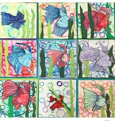Here are the grade collages. They used a combo of bleeding marker, construction paper crayons and watercolor pencils to create their… Spring Art, Summer Art, Drawing Projects, Art Projects, Elementary Art Lesson Plans, Primary School Art, 2nd Grade Art, Mini Canvas Art, Ocean Art