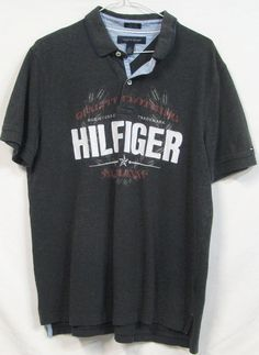 Tommy Hilfiger Custom Fit Mens Grey Embroidered Cotton Short Sleeve Polo Shirt L #TommyHilfiger #PoloRugby
