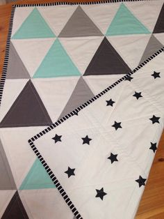 Geometric Grey, Mint, white and Black Quilt on Etsy, $64.18