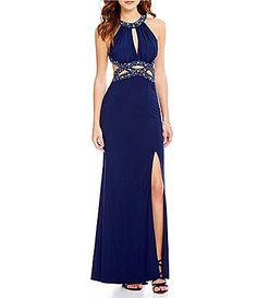 Morgan and Co High Neck BeadTrimmed Cutout Waist OpenBack Gown #Dillards