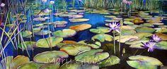 Stuart's Pond by Mary Gibbs Art Watercolor Landscape, Landscape Art, Landscape Paintings, Watercolor Paintings, Flower Paintings, Watercolours, Lilies Drawing, Painting & Drawing, Watercolor Flowers Tutorial