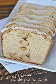 Apple Pound Cake: cream cheese pound cake filled with diced apples and topped with a cinnamon glaze!