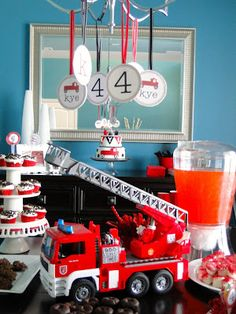 Last year Kye mentioned wanting to have a firetruck themed birthday party and I've been SO looking forward to this! It was THE easiest party I've done yet as well as probably the least expensive. 4th Birthday Parties, Birthday Party Decorations, Boy Birthday, Birthday Ideas, Fourth Birthday, Birthday Stuff, Happy Birthday, Fireman Party, Firefighter Birthday