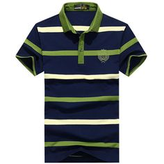 Mens Summer Striped Printed Turndown Collar Short Sleeve Casual Cotton Polo Shirt