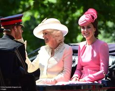 hrhduchesskate: Trooping the Colour 2017, June 17, 2017-Prince Harry, Duchess of Cornwall, and Duchess of Cambridge