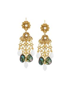 Golden+Abalone+&+Crystal+Drop+Earrings+by+Jose+&+Maria+Barrera+at+Neiman+Marcus+Last+Call.