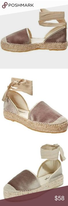 "Free People ""Paradise"" espadrilles beige velvet New without tags/box.  Beautiful velvet espadrilles in taupe. Size 36. Free People Shoes Espadrilles"
