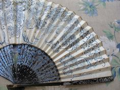 Vintage Japanese Fan, Bamboo Hand Painted Fan, Folding Hand Fan, Blue White Black Floral via Etsy.