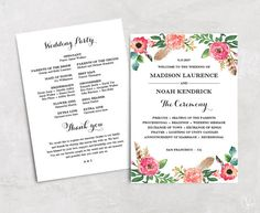Pink Floral Wedding Program Instant Download Bohemian Floral - Floral wedding program templates