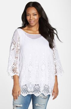 XCVI 'Kensington' Embroidered Lace Cotton & Silk Voile Tunic (Plus Size)