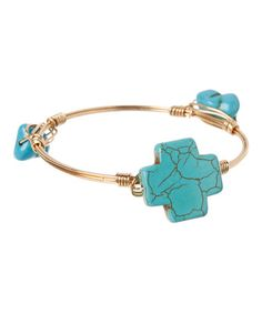 Loving this Turquoise & Gold Cross Bangle on #zulily! #zulilyfinds